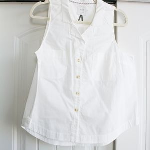 Anthropologie | White Sleeveless Button-up Blouse